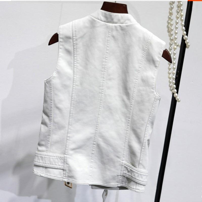 De Tissu Décontracté Gilet Veste Manteau Mujer Black Jaqueta Femmes Mode Glissière Inverno Ceinturée Couro Feminina white Femelle Chalecos Moto À qRxwwF8T