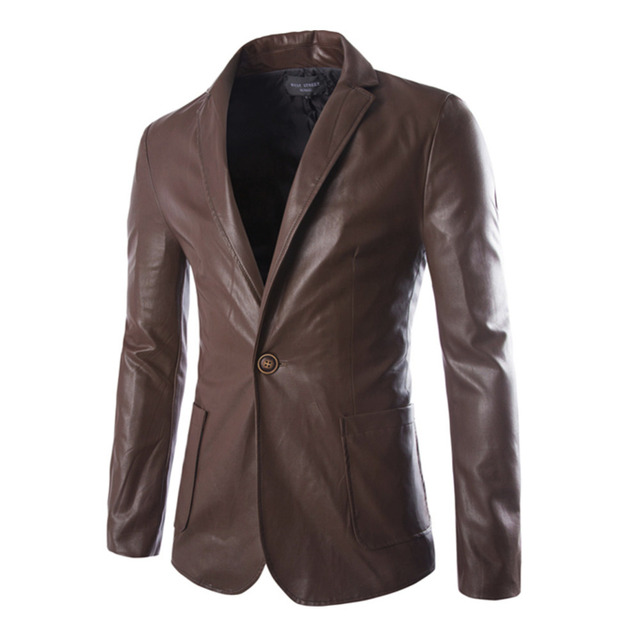 free shipping 2016 spring autumn men blazers jacket quality male's PU leather jacket men short style leather suits size M-XXL