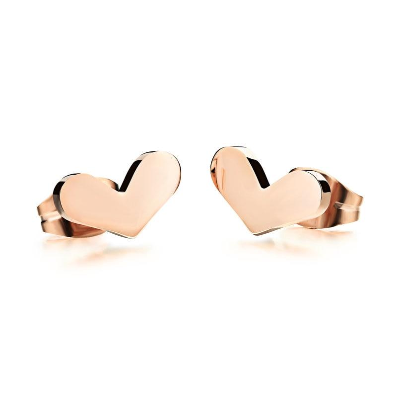 Мода, цвета розового золота, украшения, подарки, в форме сердца, женского уха ногтей, 316 titanium стали вакуумные plating.293
