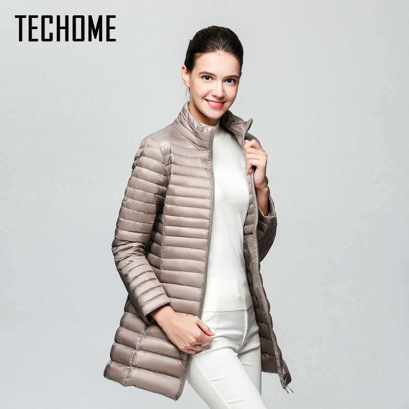 90% White Duck Down Jacket Women Winter New Fashion Waterproof Light Warm Soft Solid Color Long Coat Large Size Slim Parkas