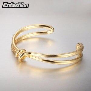 Image 5 - Enfashion 매듭 팔목 팔찌 Manchette Armband 골드 컬러 루프 라인 팔찌 팔찌 여성용 팔찌 Bangles Pulseiras B8782