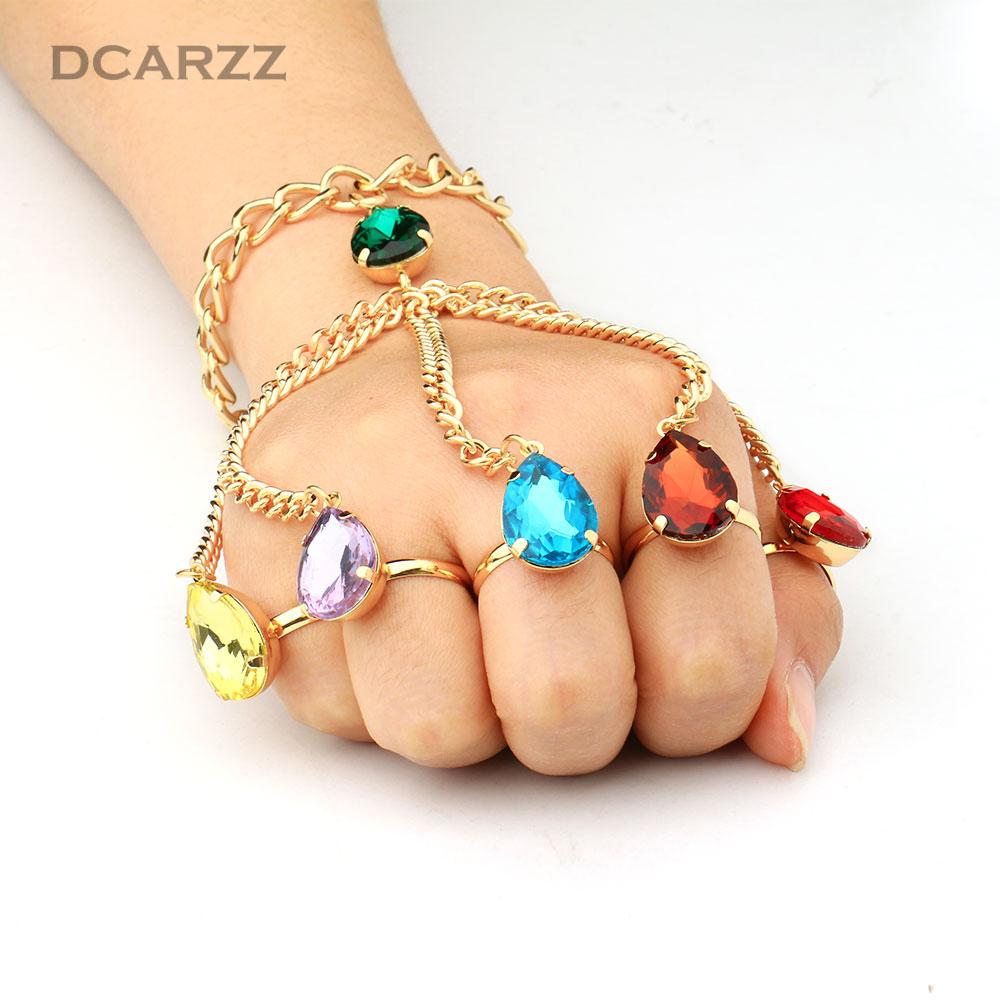Avengers:Infinity War Gauntlet Slave Hand Finger Bracelet Infinity Stones Handchain Bracelet Thanos Cosplay Jewelry Accessories