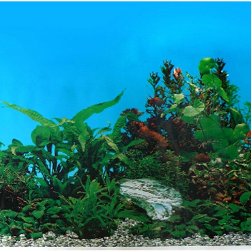 Non Self Adhesive Height 50cm 60cm Aquarium Accessories Background Stickers Fish Tank Decoration Waterproof Wallpaper Ornament