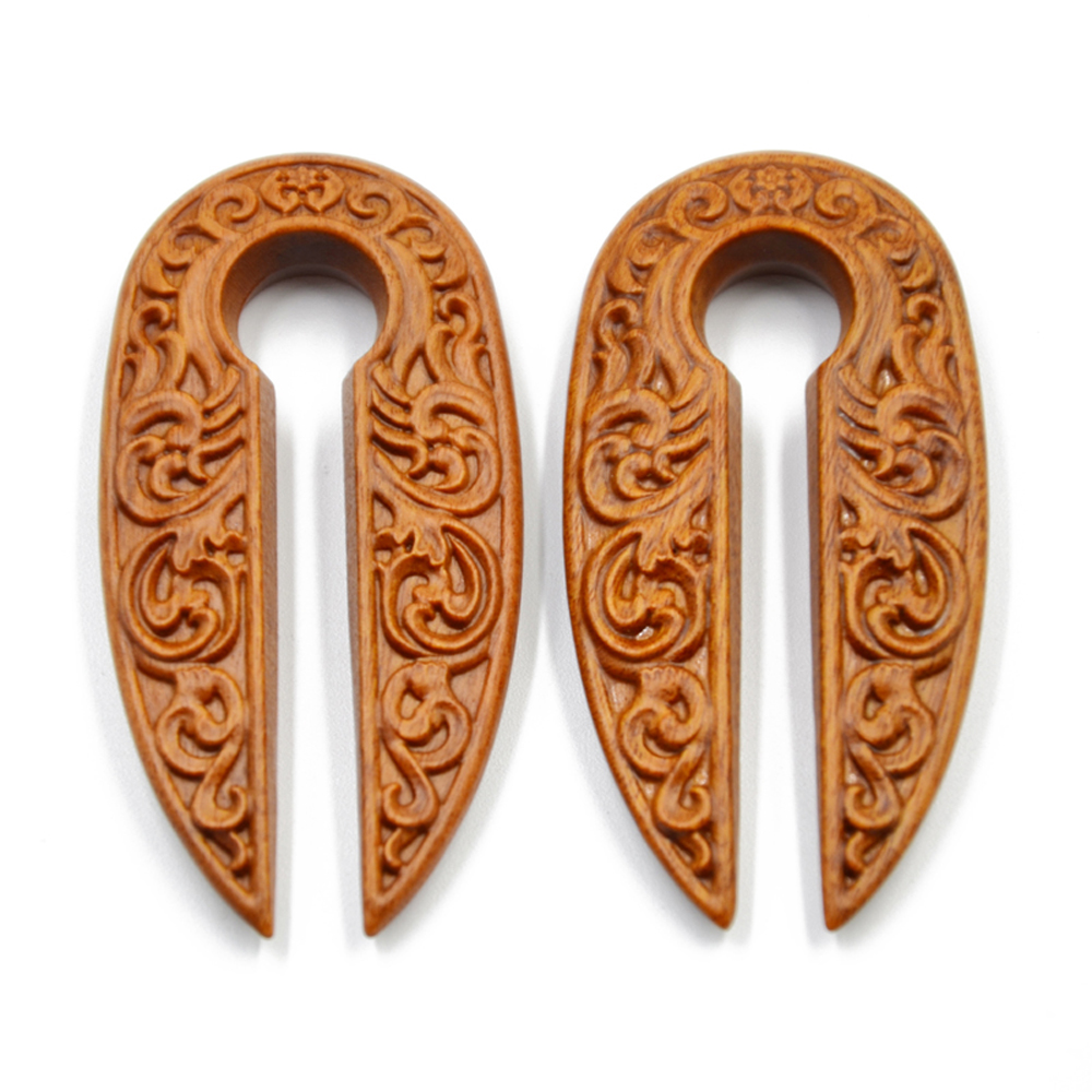 Showlove-1Pair New Arrival Wood Carve Pattern Ear Weight Oval Shape