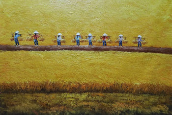 Hand Painted Abstract Landscape Oil Canvas Painting  Harvest Landscape Oil Painting Wall Art  Picture Painting  for Home Decor