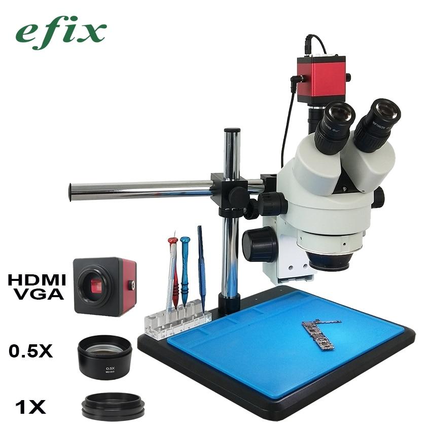Efix HDMI VGA microscope camera simul focal Continuous Zoom 3 5 45X Trinocular Stereo Microscope 56