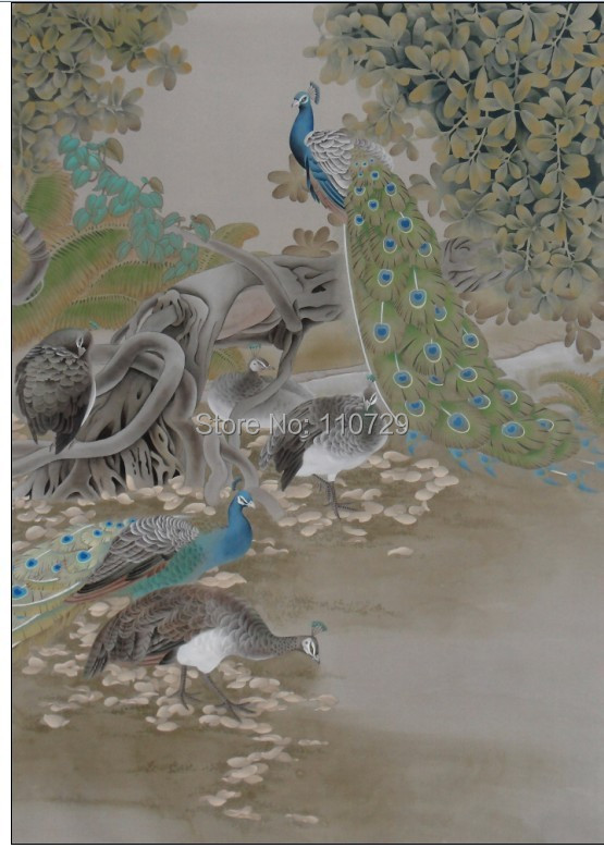 Hand-painted silk wallpaper  painting  Peacock  silk wallcover sticker many pictures optional цены