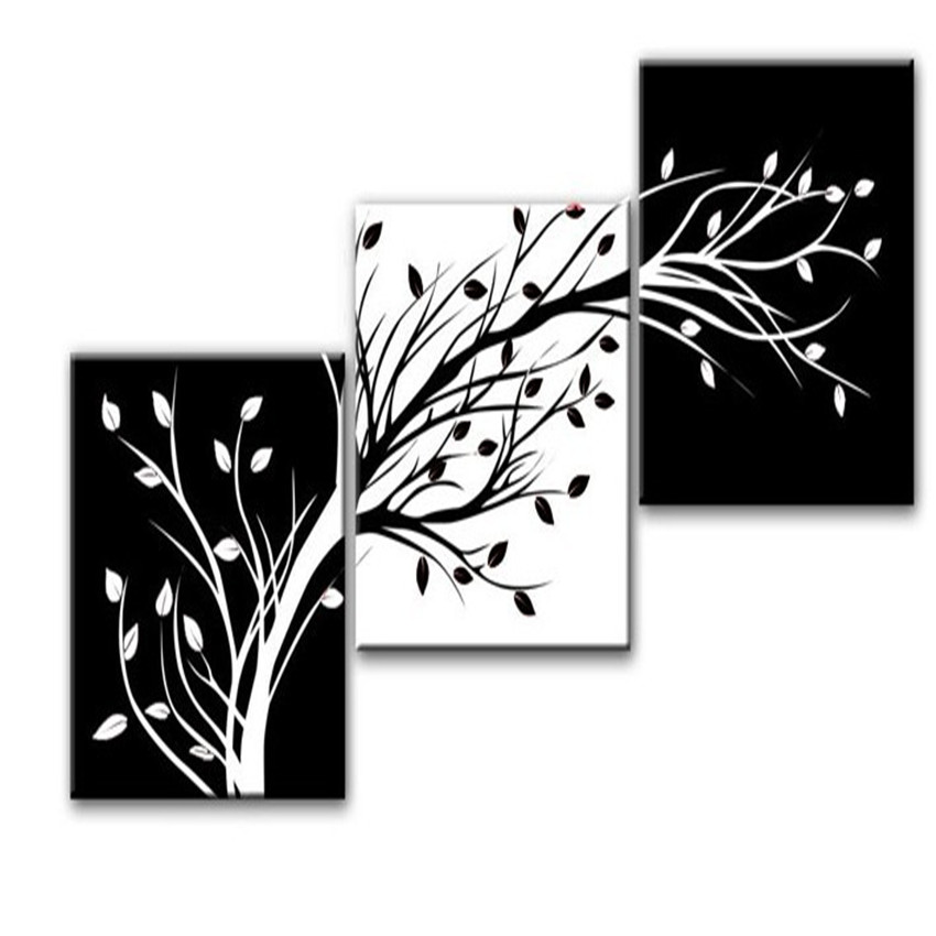 3 piece wall art modern abstract black and white tree. Black Bedroom Furniture Sets. Home Design Ideas
