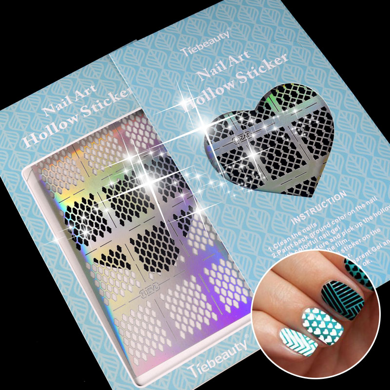 12 Tips/Sheet Fish Scale Nail Vinyls Irregular Triangle Grid Pattern Easy Use Nail Art Tips Manicure Stencil Nail Hollow Sticker 3 designs in 1 sheet laser vinyls nail hollow sticker gold grid irregular patterns tips tool for nail art stencil manicure sa350