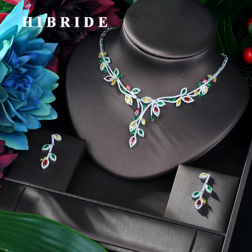 HIBRIDE New Arrival AAA Jewelry Muiticolor Leaf Design 2pc Set for Woman Sparkling Zirconia Jewelry Wedding Accessories N-80
