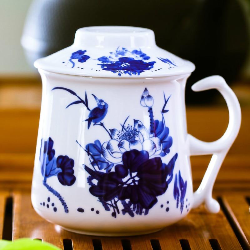 430ml Creative Design Office Drinkware Chinese Jingdezhen Bone China Porcelain Tea Cup Filter Cup