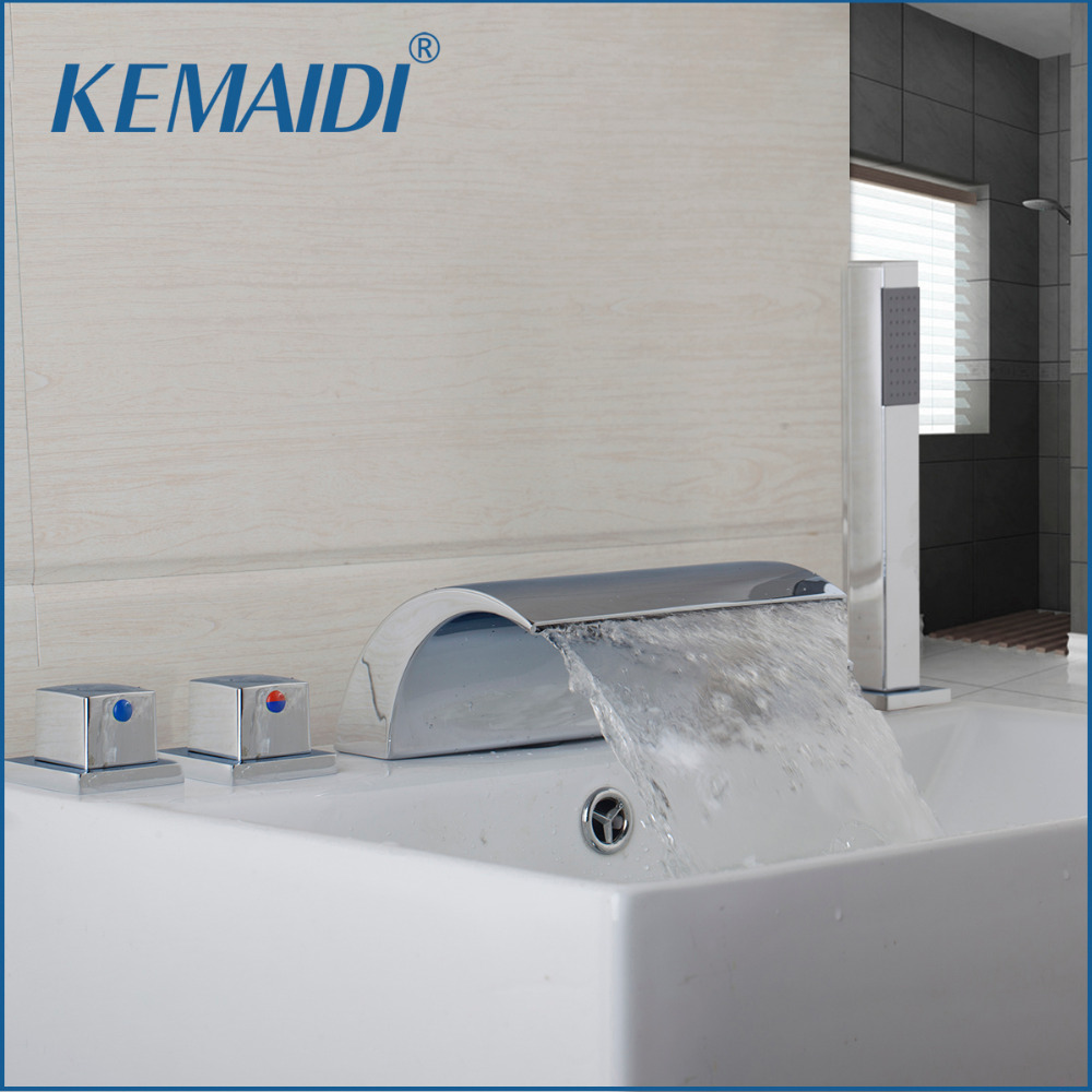 KEMAIDI Deck Mount 5PCS Waterfall Shower Set Bathtub Tub Shower Faucet Three Handles with Handheld Tub Mixer Taps Chrome Finish luxury widespread deck mount waterfall bathtub mixer faucet three handles bath tub filler chrome finish