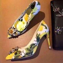 92eb9efb De impresión limón bombas colores mezclados hebilla de cristal flor Mujer  Zapatos de tacón alto diseño