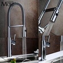 Kupfer Küchenarmatur Warmen und Kalten Pull Down Küche Wasserhahn Chrom-finish Torneira Cozinha