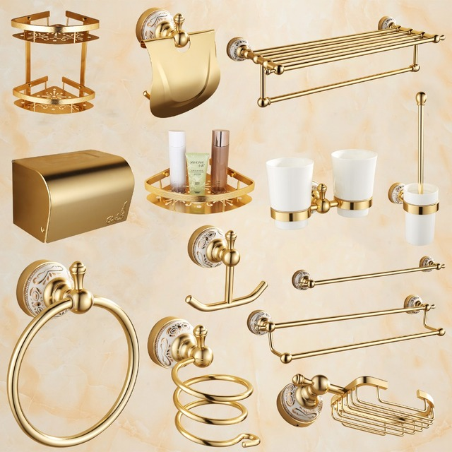 Antique Gold Bathroom Accessories Sets Aluminum With Ceramic Flower Base Hardware Polished Bath