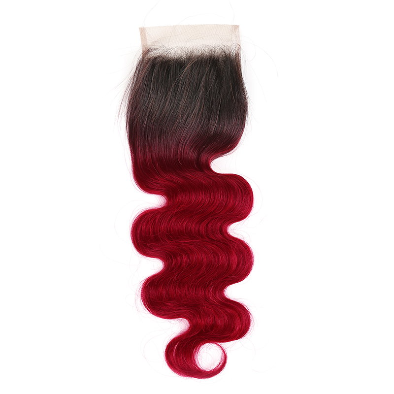 4x4 Lace Closure 99J/Burgundy Red Color Brazilian Body Wave Human Hair Free/Middle Part Swiss Lace Closure Non- Remy Hair Closure