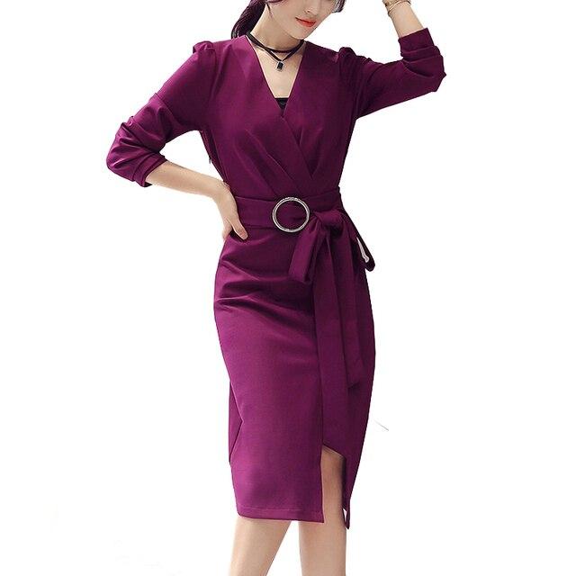 Spring Runway Korean Dresses For Women Femme Long Sleeve Tie Waist Belted Office Dress OL Lady Elegant Slim Split Midi Dresses