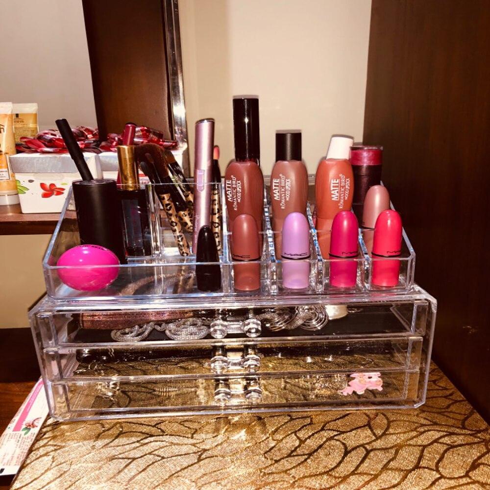 2019 Organizador de Maquiagem de Acrílico Transparente Caixa de Armazenamento De Jóias Titular Multi-camada Cosmetic Organizer Organizador Maquillage Rangement