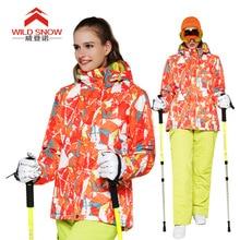 Фотография WILD SNOW Women Ski jacket Windproof Outdoor Sport Wear female Camping Riding Skiing Warm Snowboard jacket