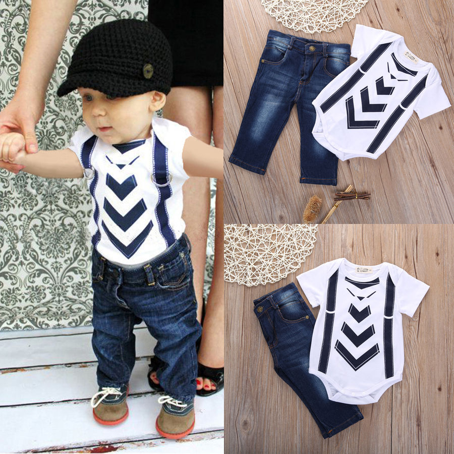 Infant Baby Boy Girl Kids Summer Clothes T-shirt Tops+Jeans Pants Sets Outfit Kids Short Sleeve Set 0-24Month summer 2017 newborn baby boy clothes short sleeve cotton t shirt tops geometric pant 2pcs outfit toddler baby girl clothing set