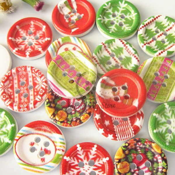christmas buttons 144pcs 4 holes 18mm printing wood buttons christmas buttons for sewing diy crafts decorative - Christmas Buttons