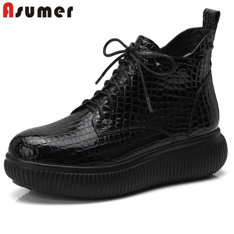 Ayakk.'ten Ayak Bileği Çizmeler'de ASUMER 2020 siyah dantel up boots kadın yuvarlak ayak yarım çizmeler düz rahat zip bayanlar balo ayakkabı kadın çizmeler büyük boyutu 34 42'da  Grup 1