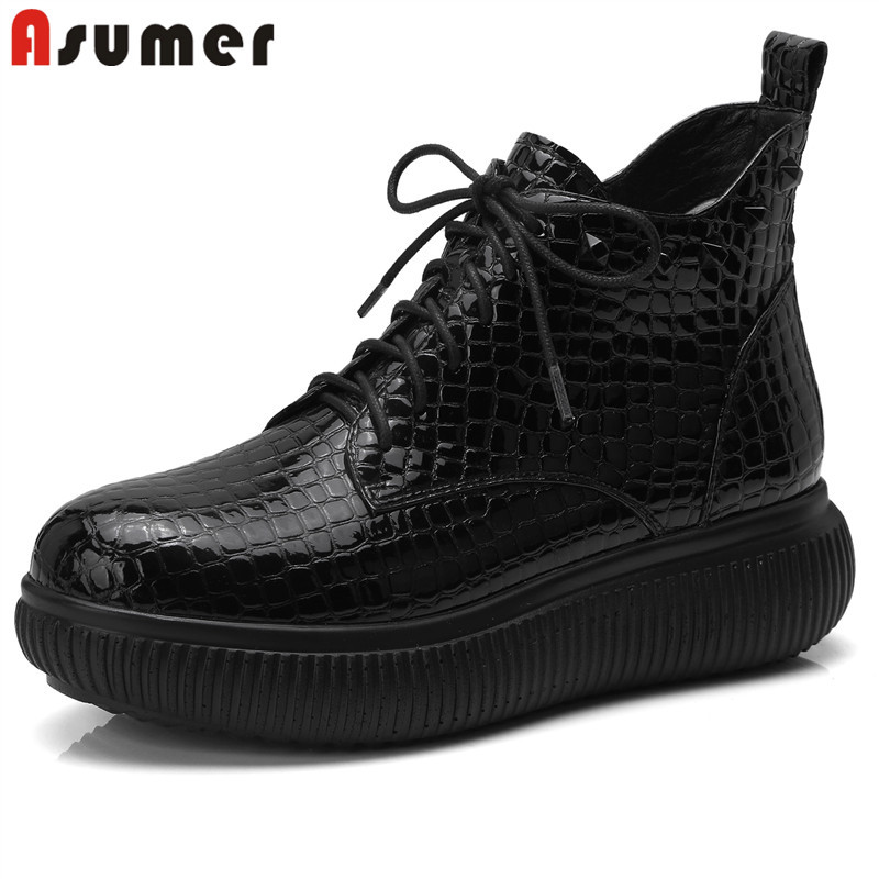 Asumer 2020 블랙 레이스 업 부츠 여성 라운드 발가락 발목 부츠 플랫 캐주얼 지퍼 숙녀 댄스 파티 신발 여성 부츠 빅 사이즈 34 42-에서앵클 부츠부터 신발 의  그룹 1