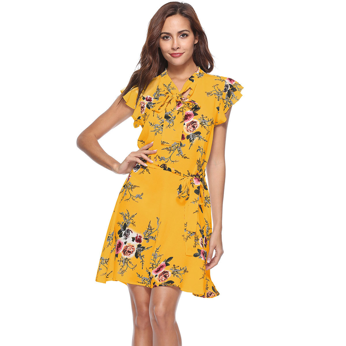 d95b0c54c1e Yellow Floral Short Sleeve Dress - Gomes Weine AG