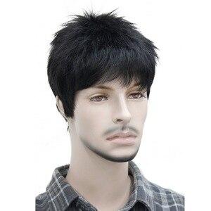 Image 3 - StrongBeauty męska peruka naturalne czarne/brązowe krótkie proste włosy syntetyczne pełne peruki 7 kolorów