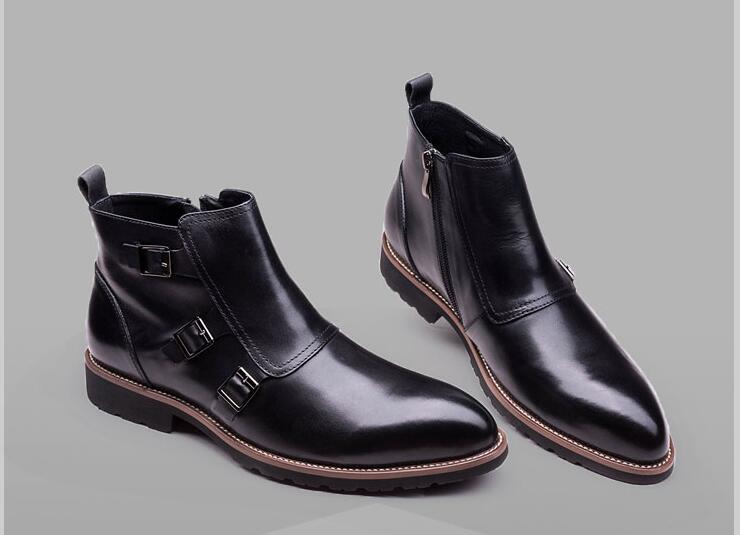 Bonito Casuais Do Dos Genuíno Boots Cinta Vintage Top Botas Fivela De vermelho Martin Preto Homens Sapatos Vestido Apartamentos Alta Romanos Ankle Couro Sapatas UOpnqqS