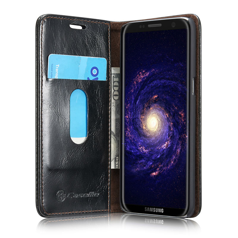 Brand CaseMe case for galaxy A3 A5 A7 S5 S5min S6 S7 Edge S8 S8Plus Note 4 5 Luxury Flip Leather Magnetic Auto Back Wallet Cover