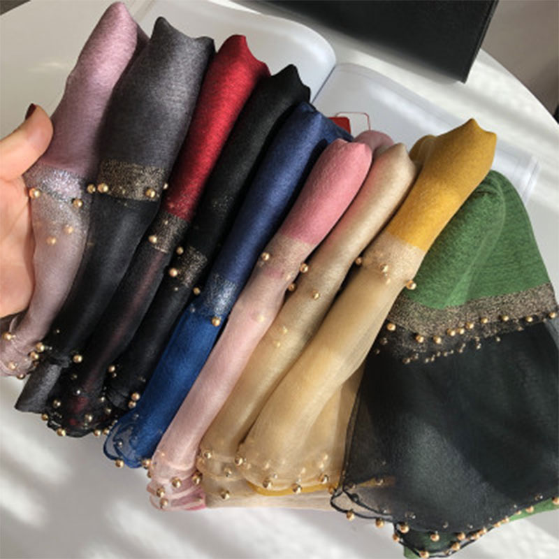 2019 Solid Beading women   scarf   summer silk   scarves   lady shawl   wrap   hijab foulard female bandana pashmina Pearl jewel headband