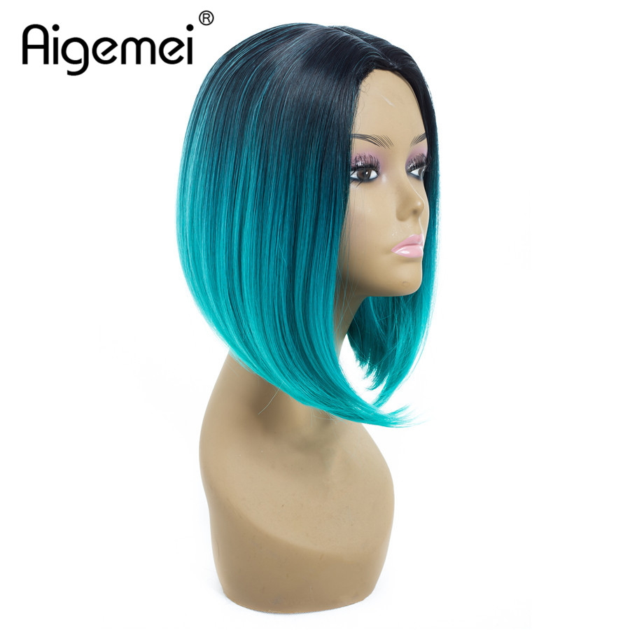 Bob Wigs For Women Short Straight Synthetic Wigs For African American Middle Part Machine Wigs Ombre Colors 12 Inches