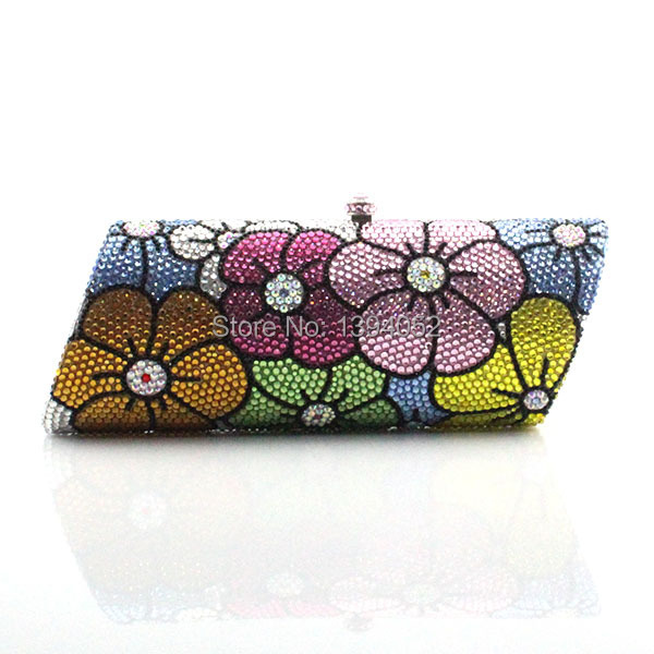 Delicate Handmade Floral Crystal Ladies Purse Evening Party Clutch Bags With Sliver Chain delicate handmade ladies evening crystal clutch fashion women bags handbags