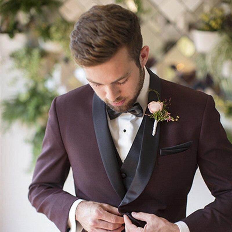 New Elegant 2017 Wine Red Terno Masculino Slim Fit Custom Male Men Suit Costume Homme Wedding Suits For Men (jacket+pants +vest)