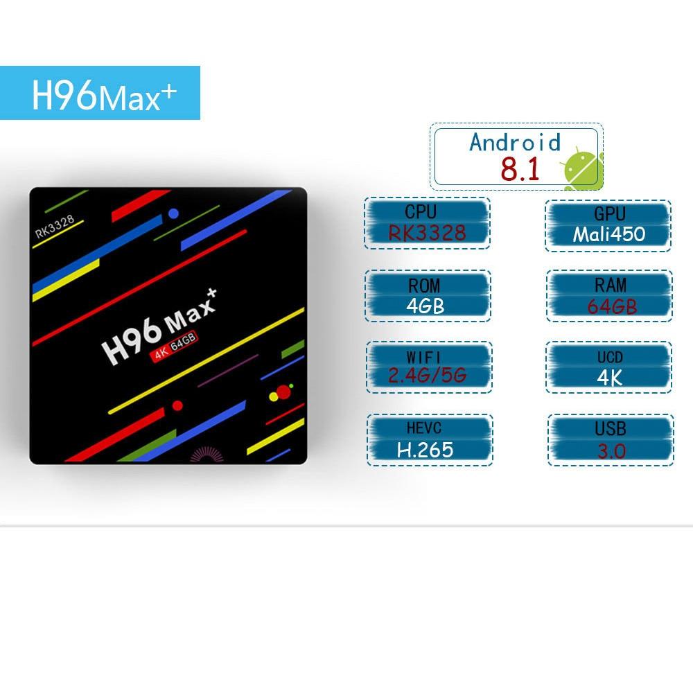 H96 MAX Plus caja de TV inteligente Android 8,1 TVBox 4 GB de Ram 32 GB/64 GB Rom Rockchip RK3328 4 K H.265 USB3.0 2,4 Ghz WiFi IP TV Set Top Box - 3