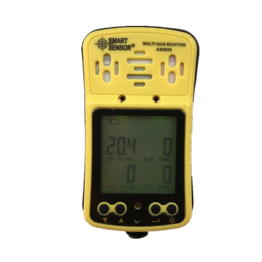 AS8900 Multi Monitor Portátil de Gás detector de gás Oxigênio O2 Hydrothion H2S 4 em 1 gás Monóxido de Carbono CO sensor de Gás Combustível analisador