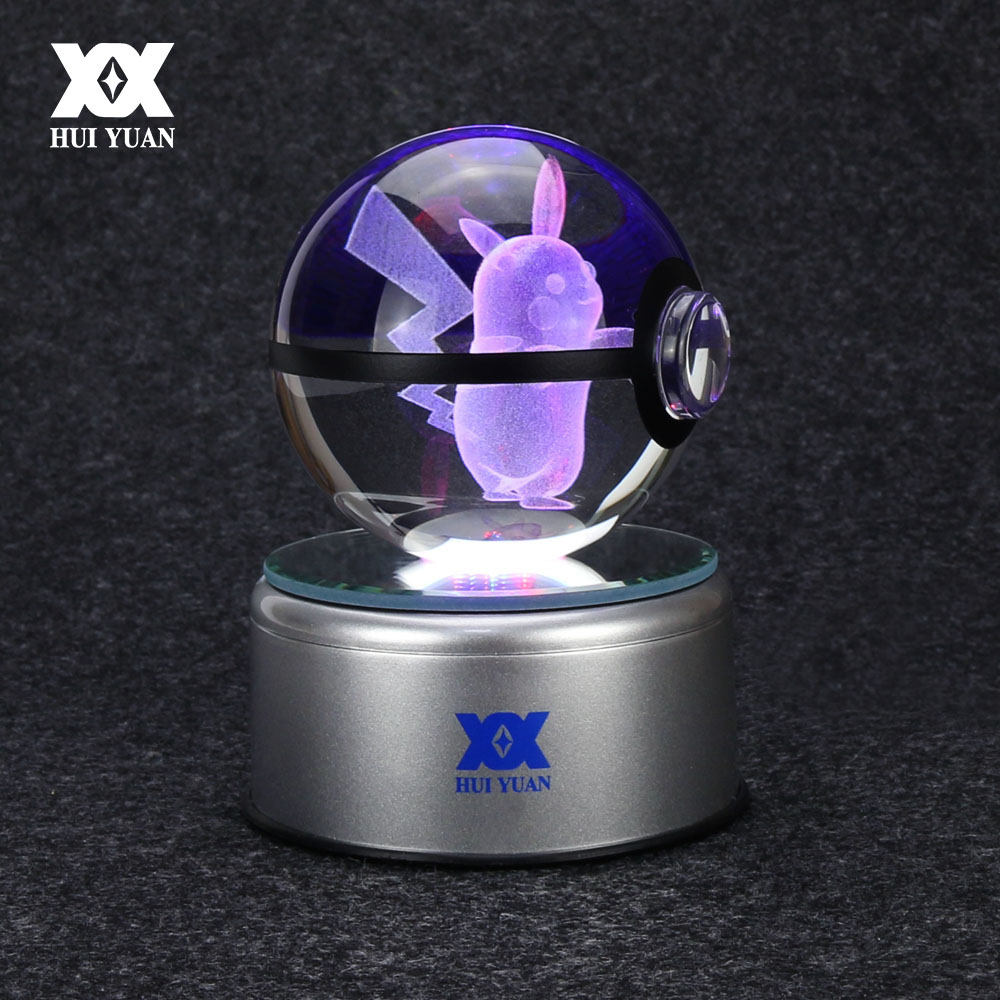 Pikachu 3D Crystal Ball Lamp Desktop Decoration Glass Ball Night Light LED Colorful Rotate Base Creative Gift HUI YUAN Brand cool creative pokemon espeon 3d lamp usb cartoon night light led 7 color touch table lamp children christmas gift hui yuan brand
