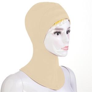 Image 5 - 12PCS New Under Hat Cap Bone Bonnet Ninja Inner Hijabs Women Muslim Islamic Wrap Headscarf Neck Full Cover Scarf Random Color
