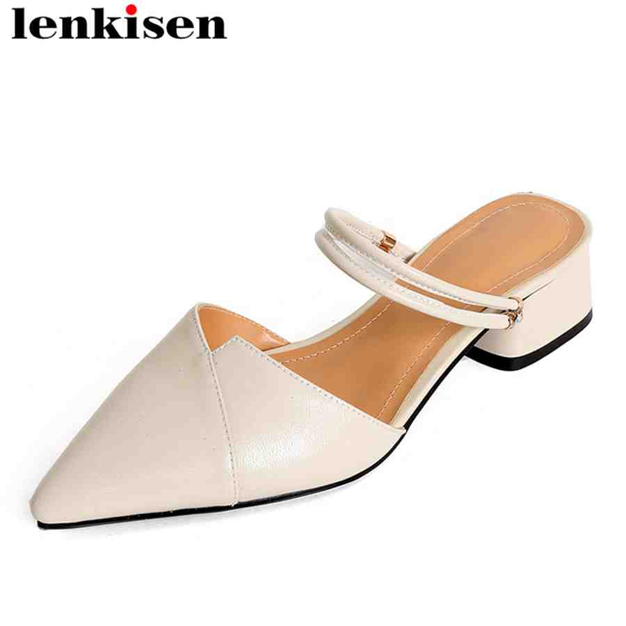 Lenkisen office lady mules natural leather solid pointed toe slingback slip on med heels European style party woman sandals L07
