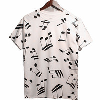 Woman T Shirt Top New Summer 2017 European Minimalist Style Cotton Short Sleeves Female Musical Notes