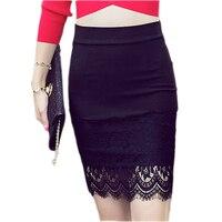 Summer Skirt Women New Large Size Elastic Lace Stitching Ladies Skirt Slim High Waist Skirts Female