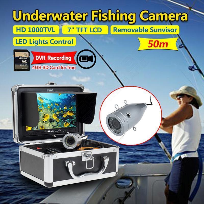Free shipping!EYOYO 7 Monitor 50M Underwater Fish Finder DVR Video Fishing Camera+4GB SD Card eyoyo 50m fish finder 2 4g wifi wireless waterproof underwater fishing video camera free shipping