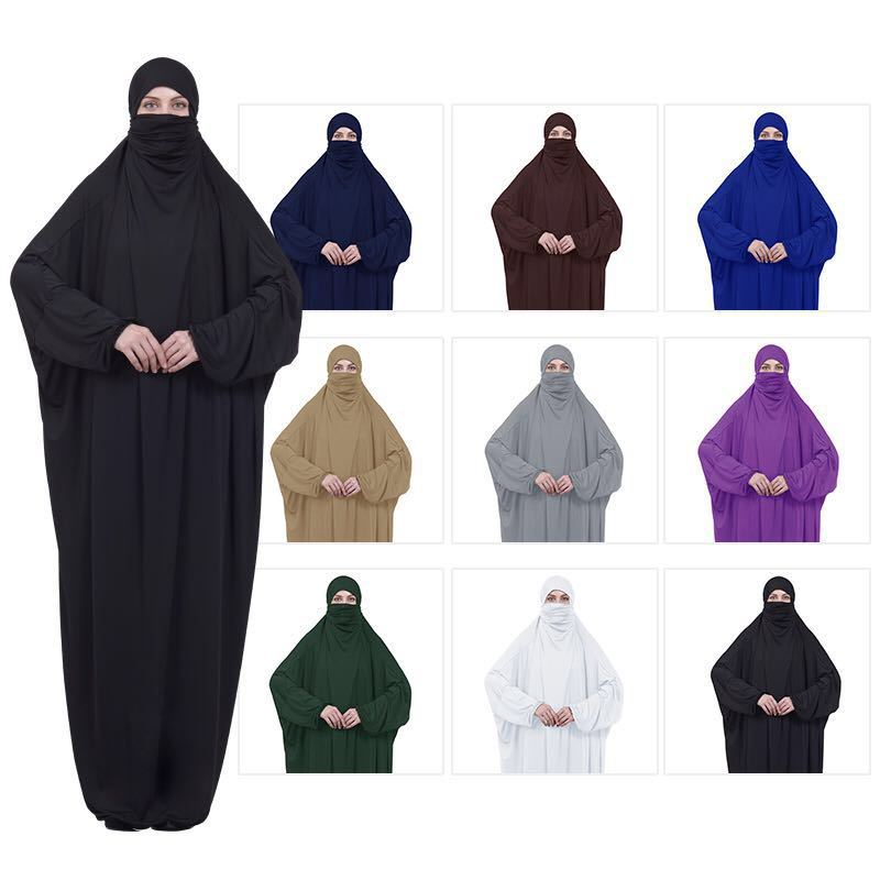 2019 New Prayer Clothing Kaftan With Hijab Robe Arabian Women Bat Sleeve Middle East Robe Islamic Clothing Muslim Abaya Bat Robe