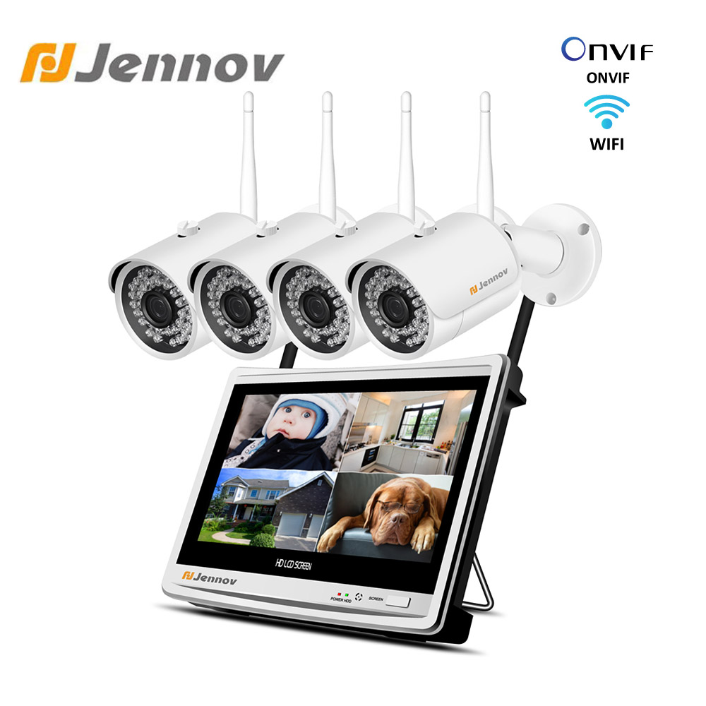 Jennov Home Security NVR Wifi Wireless Security Camera System CCTV Camera P2P HD Video Surveillance Outdoor 12 Inch LCD Monitor
