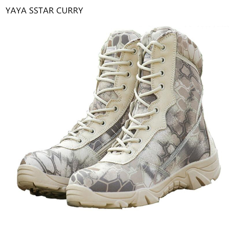 2018 US combat boots sand color bold army boots tactical mountaineering desert special forces special men shoes hiking shoes safety pvc special forces helmet random color
