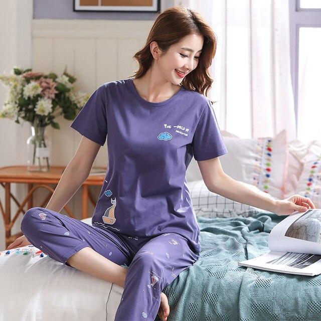 Nouveau été Pyjamas femmes coton bande dessinée Pyjamas ensemble hauts courts + longs pantalons vêtements de nuit lâche doux grande taille M 5XL vêtements de nuit pour dames