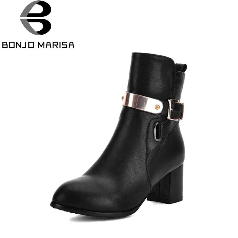 BONJOMARISA 2018 Spring Antumn Mature OL Ankle Chelsea Boots Zip Short Plush High Square Heel Women Shoes Large Size 31-43 настенная плитка porcelanosa liston chelsea camel 31 6x90