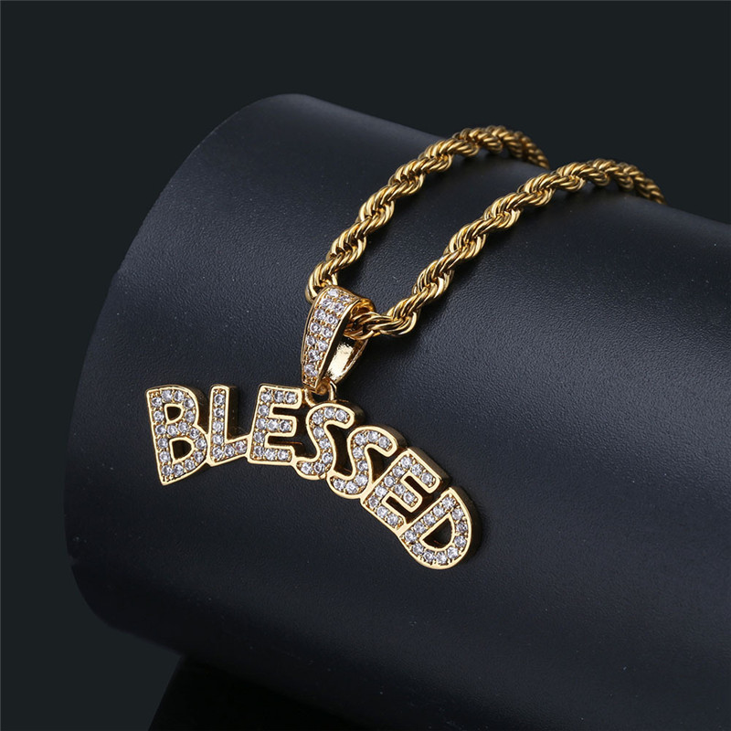 Aliexpress.com : Buy Iced Out Letters BLESSED Pendant