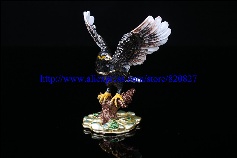 Birds In A Tree Handmade Jeweled Enameled Metal Trinket Box